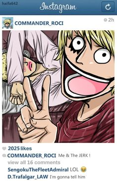 If Corazon had instagram- Donquixote Rocinante, (Corazon), (Corasan, Cora-san) and Donquixote Doflamingo One piece