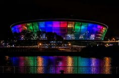 rainbow over the clyde very early in the morning at the hydro, glasgow