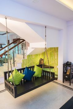 Home Discover Wooden Swing with Colorful Cushions by Shyama Viswanathan Home Room Design, Home Interior Design, Living Room Designs, India Home Decor, Ethnic Home Decor, Home Decor Furniture, Home Decor Bedroom, Indian Bedroom Decor, Interior Exterior
