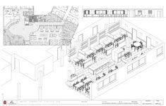 Planos del proyecto de decoración y diseño de mobiliario en Vinotecas  del hotel Ibis. Louvre, Building, Hotels, Restaurants, Blue Prints, Buildings, Construction