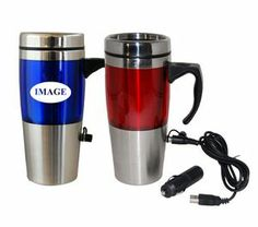 16 Oz Dual Auto / USB Heated Travel Mug16 Oz. Dual Auto/USB Heated Travel Mug. Operates with cigarette lighter adapter or USB (included). Stainless steel shell with translucent color accents, double wall insulation with stainless steel liner. Stainless steel lid with slide lock prevents spill, easy grip handle, no-slip bottom, not microwaveable or dishwasher safe.