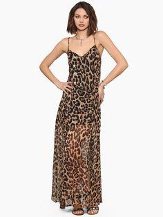 Spaghetti strap leopard print racerback full dress