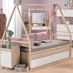 Buy the Vox Spot Kids Tipi Bed & Frame with Trundle Drawer in White today! Live in the WOW. Funky Bedroom, Bedroom Bed, Teen Bedroom, Kids Bedroom Sets, Bedroom Themes, Bedroom Decor, Tiny Girls Bedroom, Girl Bedroom Designs, Bed Styling