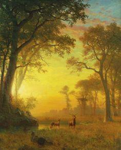 ALBERT BIERSTADT  LUZ EN EL BOSQUE  h.1875 – Óleo sobre lienzo (132 x 107)