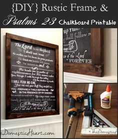 DIY Rustic Wood Frame for Large artwork plus free 18x24 scripture chalkboard printable from TheDomesticHeart.com