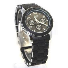 FW801F Round Silicone Black Band Unisex 2035 Japan Quartz Movement Fashion Watch