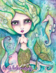 The Little Mermaid Mixed Media Art - Lesson 1 in Tamara Laporte's Ever After workshop. #mixedmedia #willowingarts #everafter2016 #art #painting #watercolor #mermaid #lorislaboratory