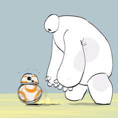 Baymax (Big Hero and Soccer Droid (Star Wars: The Force Awakens), because reasons. Star Wars Bb8, Star Wars Meme, Baymax, Big Hero 6, Fanart, Film D'animation, Love Stars, Disney Star Wars, Disney And Dreamworks