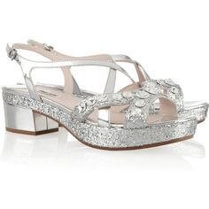 Miu Miu Swarovski crystal-embellished glitter-finished leather sandals (6,320 MXN) ❤ liked on Polyvore featuring shoes, sandals, miu miu, silver, mid heel sandals, miu miu sandals, leather strappy sandals, embellished sandals and miu miu shoes
