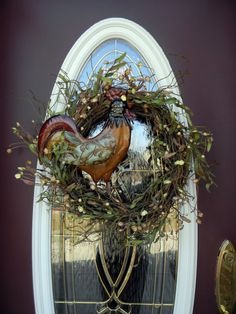 "Grapevine Door Decor Wreath... ""Rooster"" - @Wendy Felts Felts Fries, this one made me think of you! :o)"