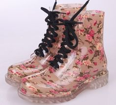 clear womens lace up rain boots | 2013 New Womens Clear Lace UP PVC Rain Boots Candy Waterproof Martin ...