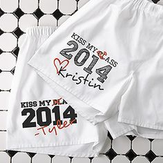 "OMG these are too funny!!! ""Kiss My Class..."" Personalized Boxer Shorts ... these are hilarious! Cute Graduation Gift idea! #Graduation #KissMyClass #GradGift"