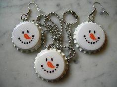 Snowman Face Bottle Cap Necklace