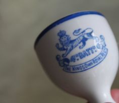 King's Own Royal Regiment, Lancaster Battalion Egg Cup. Blue and White Egg Basket, British Army, Lancaster, Blue And White, Military, King, History, Historia, Military Man