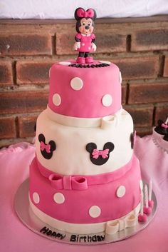 Amazing cake at a Minnie Mouse birthday party! See more party ideas at CatchMyParty.com!