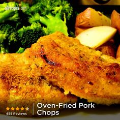 Oven Fried Pork Chops Recipe is a great and very easy. The chops were very moist and my teenage sons could not stop eating them. Oven Fried Pork Chops, Baked Pork, Oven Baked, Pork Loin, Pork Chop Recipes, Meat Recipes, Cooking Recipes, Pork Meals, Gourmet