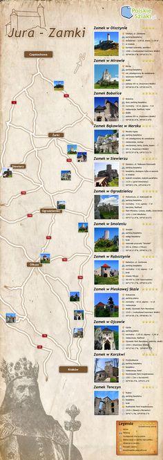 Jura - Zamki - infografika - wycieczki, ciekawe miejsca i atrakcje turystyczne w Polsce