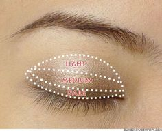 Vertical gradient - An almost mathematical method to applying eye make-up.