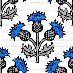 Heraldic Blossom Thistle custom fabric by siya for sale on Spoonflower Scottish Flowers, Scottish Thistle, Scotland Tattoo, Scotland National Flower, Celtic Symbols, Stencil Designs, Vintage Embroidery, Quilt Blocks, Spoonflower
