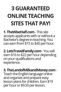 3 Guaranteed Online Teaching Sites That Pay! – Make Money from Home Ways To Earn Money, Earn Money From Home, Earn Money Online, Online Jobs, Money Saving Tips, Way To Make Money, Making Money From Home, Life Hacks Websites, Useful Life Hacks