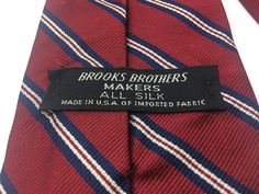 Brooks Brothers Makers All Silk Necktie Striped Red Navy 56 L Classic 1980s Menswear Tie Cravat from Hawk Vintage Clothing by HawkVintageClothing on Etsy