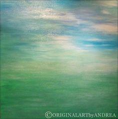 ABSTRACT PAINTING LANDSCAPE Contemporary Art Original Acrylic Paintings Abstract Seascape Canvas Wall Art Decor 24x24x1,5 (60cmx60cmx3,6cm)