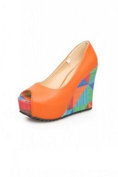 d17efb2e2fd9 Bi Color Faux Leather Colorful Geometric Wedges Open Toe Platforms High  Heels Shoes