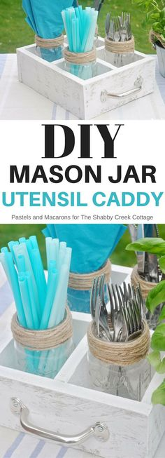 DIY Mason Jar utensil caddy made from wood scraps and under $5!