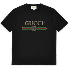 4f40e050783 Gucci Print Cotton T-Shirt Black Gucci Shirt