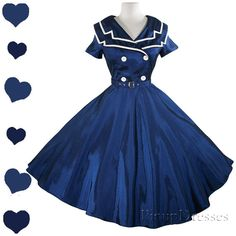 New Sailor Dress Navy Blue White USO Pinup Full von pinupdresses
