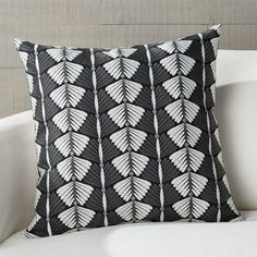 Sale ends soon. Shop Petrassi Embroidered Pillow with Down-Alternative Insert Designer Genevieve Bennett elevates a pure cotton pillow with rows of stylized leaves. Black And White Pillows, Embroidered Leaves, Glasgow School Of Art, Pillow Arrangement, Cotton Pillow, Crate And Barrel, Textile Design, Accent Pillows, Pillow Inserts