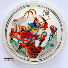 2016 Australian Monkey King 1 ounce coloured silver bullion coin has been beautifully made as a collectors piece and comes in a gift pouch.