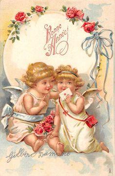 Bonne Annee, Happy New Year, Pixie Angels, Roses, Letter, Gilbert Dumaine | eBay