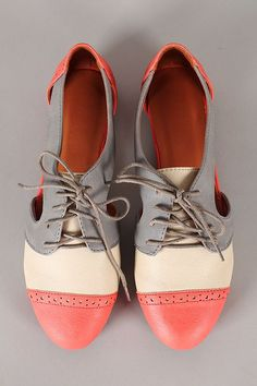 Tendance Chaussures   Marty-01 Multicolor Perforated Cut Out Lace Up Oxford Flat