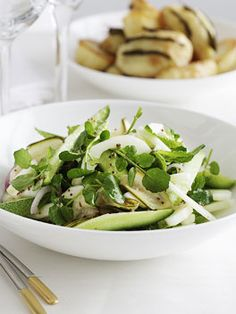 Cucumber, mint and watercress salad with mustard seed dressing
