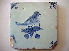 Antique Delft Tile Bird on Berry twig