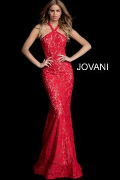 Jovani 63214 is an Embellished Lace Fitted Sleeveless Prom gown with a cut out racer back. Red Lace Prom Dress, Fitted Prom Dresses, Prom Dresses Jovani, Homecoming Dresses, Fitted Skirt, Dresses Uk, Long Dresses, Wedding Dresses, Stunning Prom Dresses