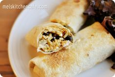 Oven Baked Chimichangas............    Freezing:  I'd probably freeze them just rolled up, without baking, then remove them from the freezer, rub with oil and pop in the oven. (Long live those huge dinner parties of yours, by the way!)