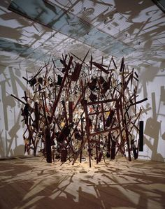 Cornelia Parker - Cold Dark Matter: An Exploded View .... Basically an exploded shed hanging as it had exploded