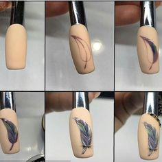 This nail art have different steps to do nail art Nail Art Plume, Feather Nail Art, Flower Nail Art, Nail Art Diy, Cool Nail Art, Nail Manicure, Diy Nails, Dream Catcher Nails, Nail Drawing