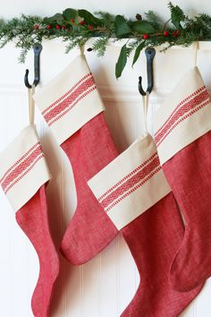 Red Vintage-Inspired Christmas Stocking - Scandinavian - Red Stripe - Linen - Cotton - God Jul by WonderfulLifeFarm on Etsy https://www.etsy.com/listing/249563395/red-vintage-inspired-christmas-stocking