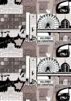 Helsinki by Riina Kuikka - Vallila Interior - Finland Home Textile, Textile Design, Fabric Design, Helsinki, Green Curtains, Stay The Night, Marimekko, Haberdashery, Pattern Wallpaper