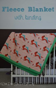 Sewing Baby Blanket Fleece Blanket with Binding - Here's a change up from the old tie fleece blankets. Sew up one or two of these fleece blankets with binding. Fleece Blanket Edging, Crochet Blanket Tutorial, Easy Baby Blanket, Fleece Baby Blankets, Flannel Blanket, Weighted Blanket, Fleece Throw, Fleece Projects, Sewing Projects For Kids