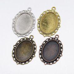 10pcs DIY Zinc Alloy Oval Pendant Cabochon Settings Jewelry Making Mixed Color