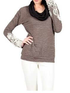 Cowl Sweater with Lace Sleeve Detail  https://www.facebook.com/431114316922827/photos/a.855743194459935.1073741855.431114316922827/855746617792926/?type=3&theater