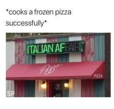 This Italian Restaurant In My Hometown Is Really I. ~ Memes curates only the best funny online content. The Ultimate cure to boredom with a daily fix of haha, hehe and jaja's. Funny Food Memes, Funny Fails, Dankest Memes, Funny Humor, Hilarious Sayings, Dog Humor, Bad Memes, Ecards Humor, Funny Sarcastic