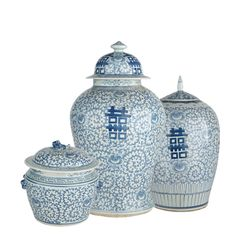 Traditionally, newlyweds in China were given two of these beautifully decorated porcelain pots, bearing the Chinese ideogram for happiness. Offered in three sizes.