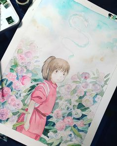 Watercolor Illustration, Watercolor Paintings, Spirited Away Art, Art Anime, Totoro, Art Sketchbook, Cute Drawings, Art Inspo, Light Colors