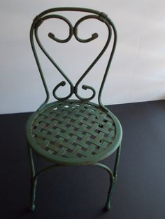 Small Metal Garden Chair in Vintage Green (front patio, repaint to black)