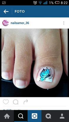 Uñas French Pedicure, Pedicure Nail Art, Toe Nail Art, Toe Nails, Pedicure Designs, Toe Nail Designs, Butterfly Makeup, New Nail Art Design, Nail Effects